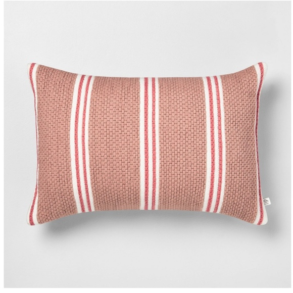 Hearth & Hand Other - Hearth & Hand Outdoor Pillow Stripe Oblong Rose